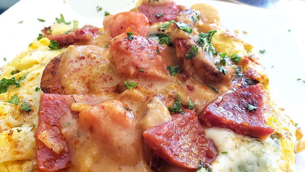 Shrimp and Chorizo Frittata at Batter & Berries