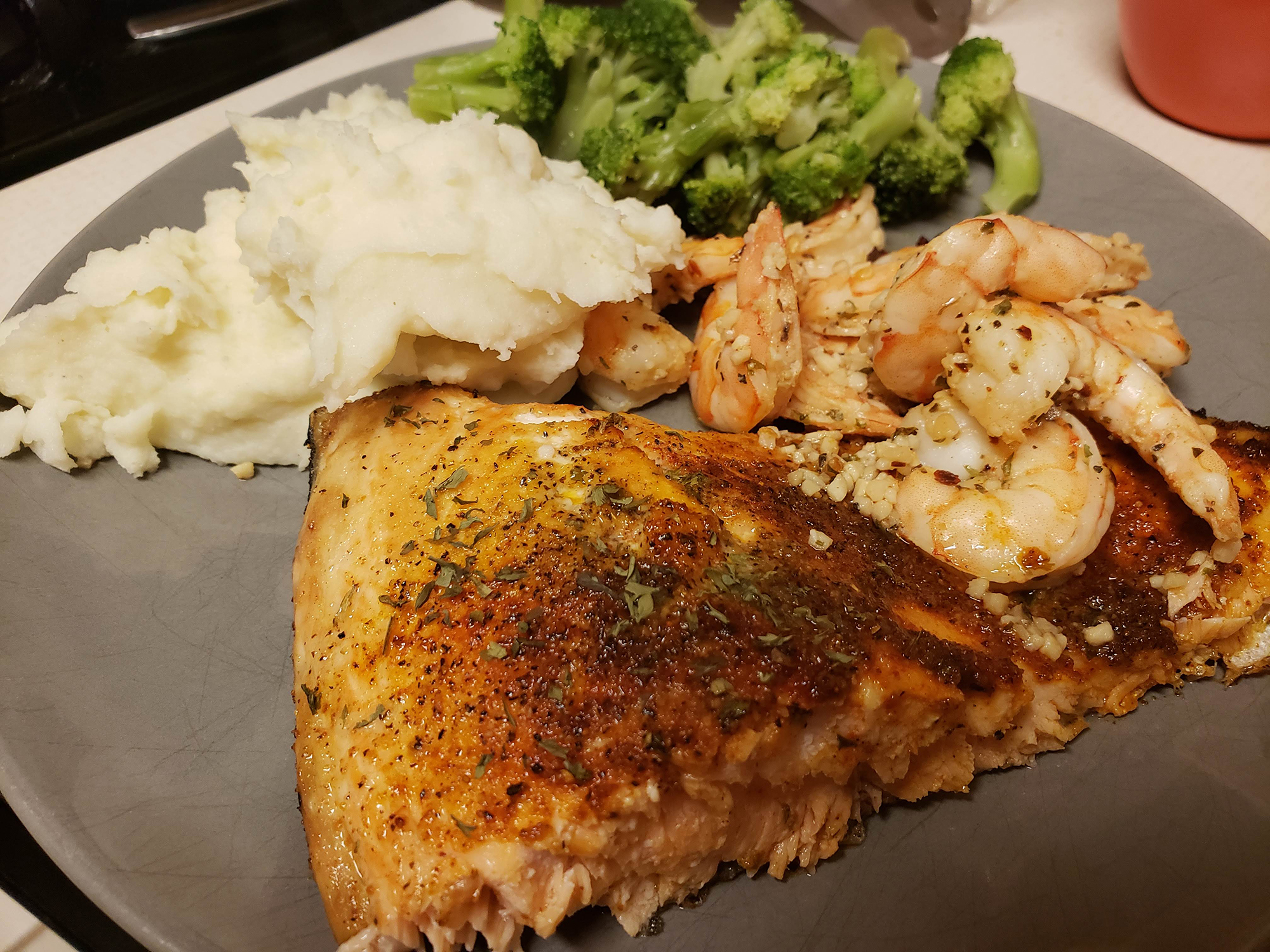 Cajun and Lemon Pepper Salmon meal